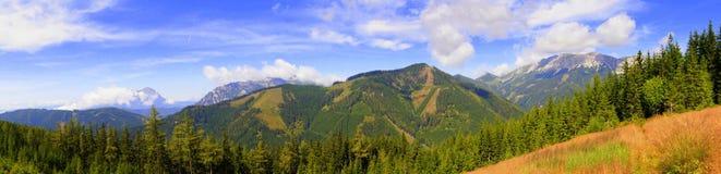 Panorama della montagna nelle alpi dell'Austria Fotografie Stock