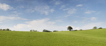 Panorama della natura con il cielo nuvoloso blu-chiaro Immagini Stock