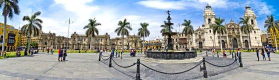 Panorama della plaza de Armas - Lima nel Perù fotografia stock