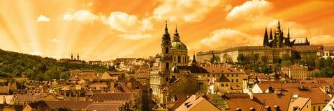 La poca città di Praga Fotografia Stock