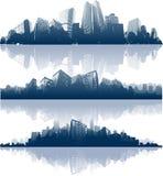 Panorama della riflessione della città Fotografie Stock