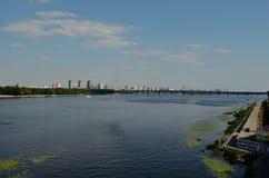 Panorama della riva sinistra di Kiev Immagini Stock