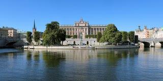 Panorama della sede del parlamento a Stoccolma, Svezia Fotografia Stock Libera da Diritti