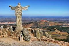 Panorama della sierra Marofa in Figueira de Castelo Rodrigo Fotografia Stock