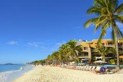 Panorama della spiaggia del Playa del Carmen, Messico Fotografia Stock Libera da Diritti