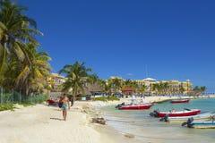 Panorama della spiaggia del Playa del Carmen, Messico Immagine Stock