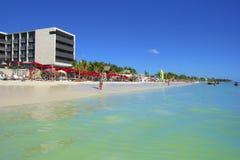 Panorama della spiaggia del Playa del Carmen, Messico Fotografie Stock Libere da Diritti