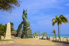 Panorama della spiaggia del Playa del Carmen, Messico Immagini Stock Libere da Diritti