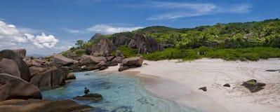 Panorama della spiaggia di Anse Marron alle Seychelles Immagine Stock Libera da Diritti