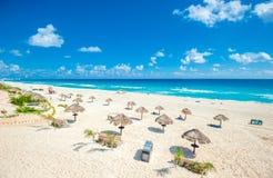 Panorama della spiaggia di Cancun, Messico Fotografie Stock Libere da Diritti