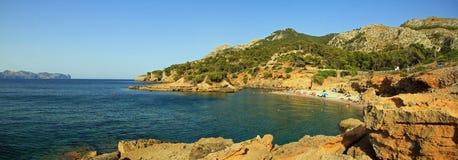 Panorama della spiaggia di S'Illot fotografia stock libera da diritti