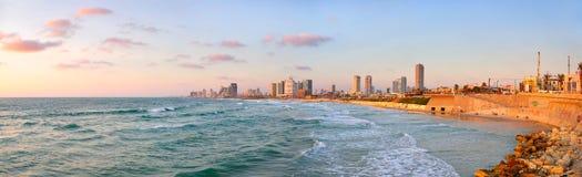 Panorama della spiaggia di Tel Aviv, Israele Fotografia Stock Libera da Diritti
