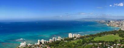 Panorama della spiaggia di Waikiki, Hawai Fotografia Stock
