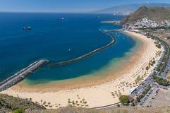 Panorama della spiaggia Las Teresitas, Tenerife, isole Canarie, Spagna Fotografia Stock Libera da Diritti