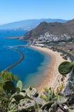 Panorama della spiaggia Las Teresitas, Tenerife, isole Canarie, Spagna Immagine Stock Libera da Diritti