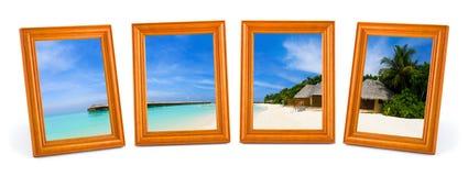 Panorama della spiaggia tropicale nei telai Immagini Stock