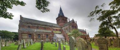 Panorama della st Magnus Cathedral in Kirkwall, Orkney, Scozia fotografia stock libera da diritti