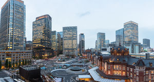 Panorama della stazione di Tokyo in un giorno nuvoloso Fotografie Stock Libere da Diritti