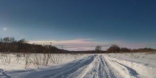 Panorama della strada della neve Fotografia Stock Libera da Diritti