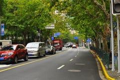 Panorama della strada famosa di Nanchino a Shanghai Cina Fotografie Stock