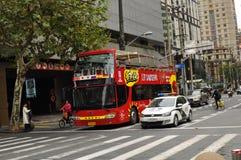 Panorama della strada famosa di Nanchino a Shanghai Cina Immagini Stock Libere da Diritti