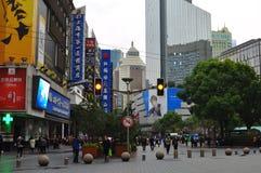 Panorama della strada famosa di Nanchino a Shanghai Cina Fotografia Stock Libera da Diritti