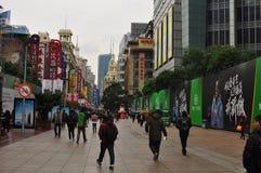 Panorama della strada famosa di Nanchino a Shanghai Cina Immagine Stock Libera da Diritti
