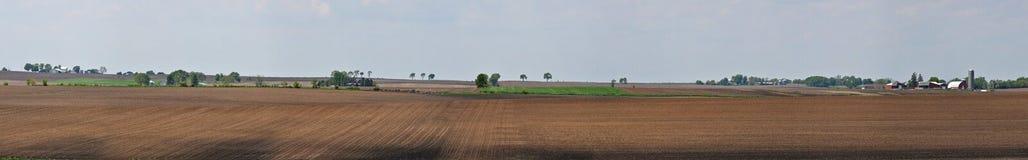 Panorama della terra dell'azienda agricola di Midwest Immagini Stock