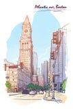 Panorama della torre della dogana Schizzo dipinto isolato su fondo bianco Illustrazione di vettore EPS10 Fotografie Stock