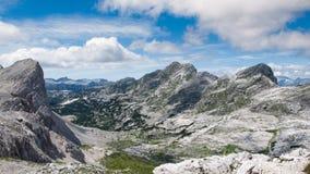 Panorama della valle dei laghi Triglav Fotografie Stock Libere da Diritti