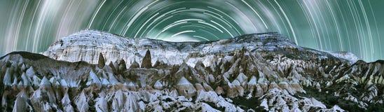 Panorama della valle di Cappadocia con l'alta risoluzione Immagini Stock