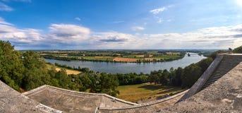 Panorama della valle di Danubio dal tempio famoso Walhalla vicino a Regensburg, Baviera, Germania Fotografia Stock Libera da Diritti