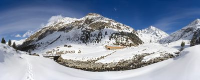 Panorama della valle di inverno, Austria Fotografie Stock