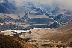 Panorama della valle di Kali Gandaki, Nepal Fotografie Stock Libere da Diritti