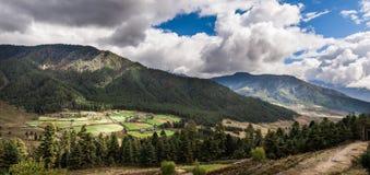 Panorama della valle di Phobjikha Immagini Stock