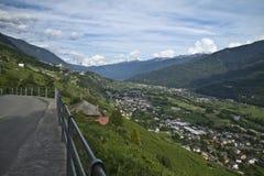 Panorama della Valtellina - Italia Immagini Stock