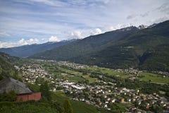 Panorama della Valtellina - Italia Immagini Stock Libere da Diritti
