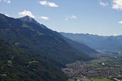 Panorama della Valtellina - Italia Immagine Stock