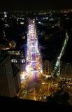Panorama della via di notte di Madrid Fotografie Stock Libere da Diritti