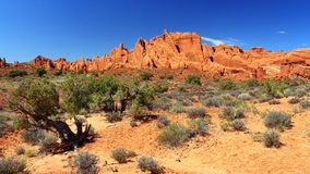 Panorama delle alette della roccia nel giardino dei diavoli, parco nazionale di arché immagini stock libere da diritti
