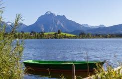 Panorama delle alpi con il lago, la pista e la barca Immagini Stock