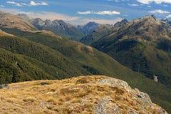 Panorama delle alpi del sud nel parco nazionale di Fiordland Immagini Stock