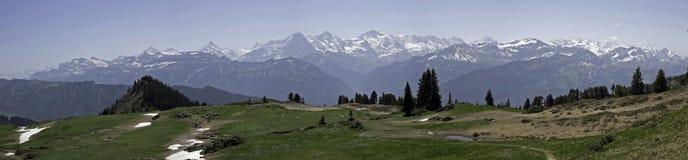Panorama delle alpi di Bernese, Niederhorn, Svizzera Immagini Stock Libere da Diritti