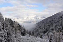 Panorama delle alpi di Stubai dell'austriaco con le catene montuose ed alberi coperti in neve e cielo blu e nuvole nell'inverno Fotografia Stock Libera da Diritti