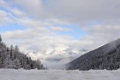 Panorama delle alpi di Stubai dell'austriaco con le catene montuose ed alberi coperti in neve e cielo blu e nuvole nell'inverno Fotografie Stock