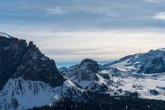 Panorama delle alpi delle dolomia, Val Gardena, Italia fotografia stock