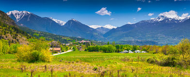 Panorama delle alpi francesi Immagine Stock