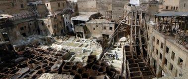 Panorama delle concerie di Fes Fotografia Stock Libera da Diritti