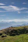 Panorama delle montagne in alpi europee, Austria Immagine Stock