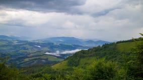 Panorama delle montagne carpatiche Fotografie Stock